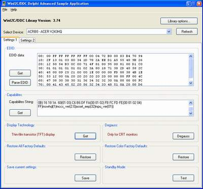 Screenshot of WinI2C-DDC Lite